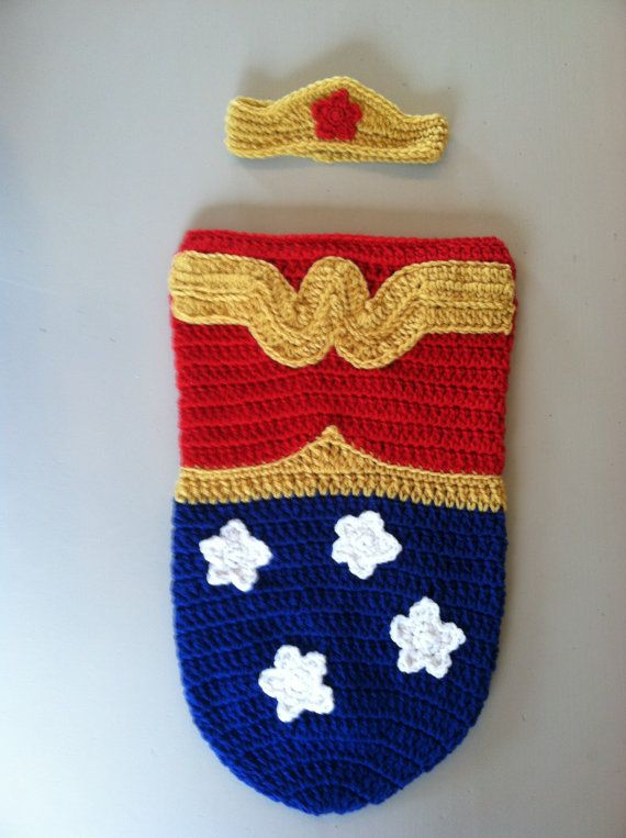 Wonder Woman Baby Cocoon and Tiara by crochetherodesigns on Etsy