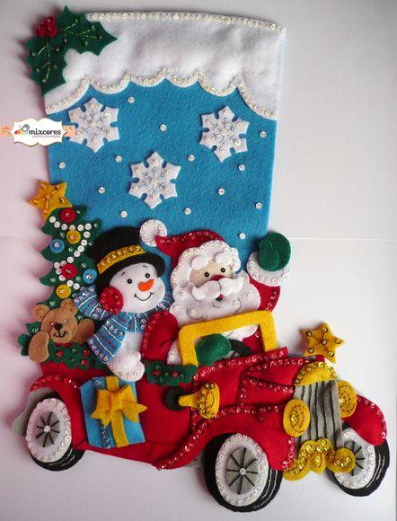 Bota de Natal Feltro Papai Noel no Carro