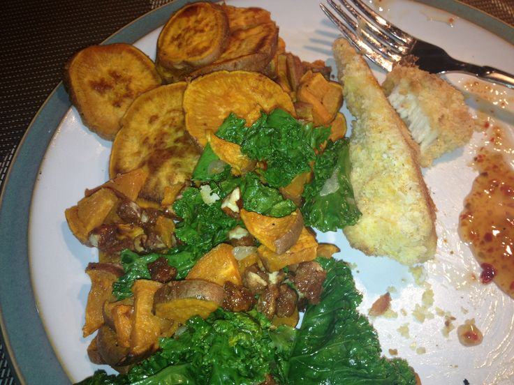 with Sweet Potatoes and Kale Salad with Candied Pecans and Goat Cheese ...