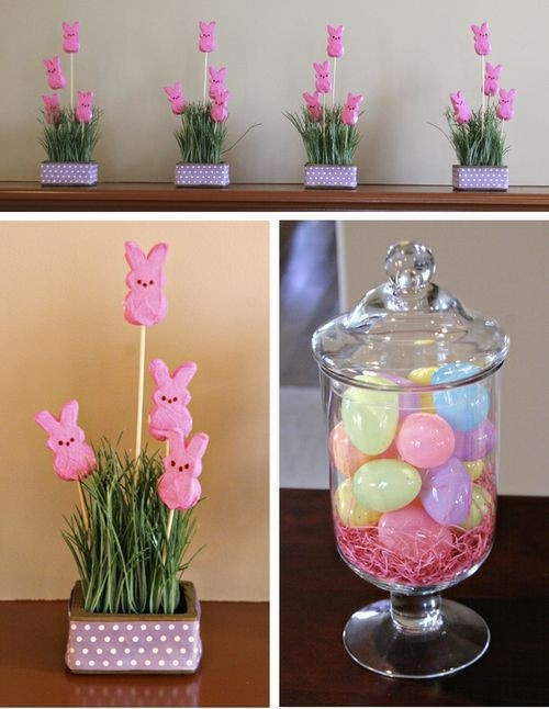 Great idea for an Easter centerpiece:  Fill an inexpensive hurricane glass jar with plastic eggs and Easter grass.  Looks beautiful, adds color, and is super cheap.  Perfect.
