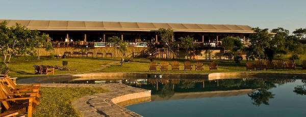 View of the Nkambeni Tented Camp dining room and bar area from the swimming pool area.