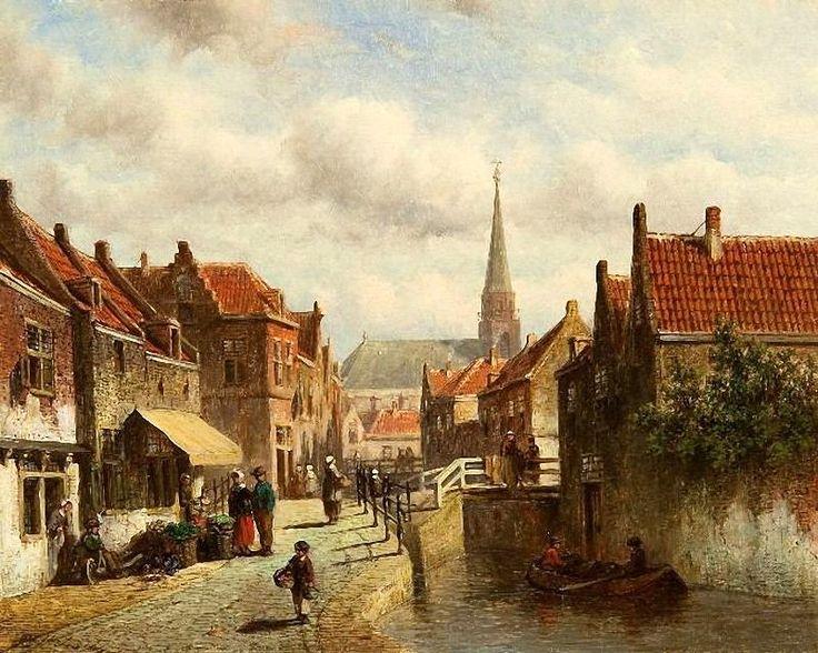 """Petrus Gerardus Vertin (1819-1893) Dit schilderij staat bekend als: """"Hollands dorpsgezicht met het torentje van Scheveningen, 1866"""". De toren van de Oude Kerk van Scheveningen is correct geschilderd, maar het schip van de kerk niet. Een het dorp is een verzinsel met een romantisch bruggetje en water op Scheveningen. (Coll. Simonis&Buunk, Ede)"""