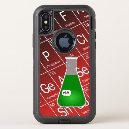 Green Erlenmeyer Flask (with Initials) Chemistry OtterBox Defender iPhone X Case - initial gift idea style unique special diy