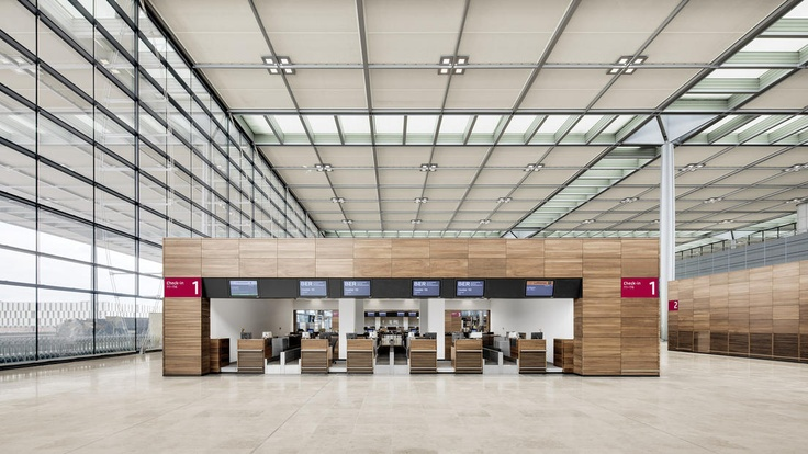 Berlin Brandenburg Airport - gmp Architekten (2016?) - Check-in Facilities still unused.