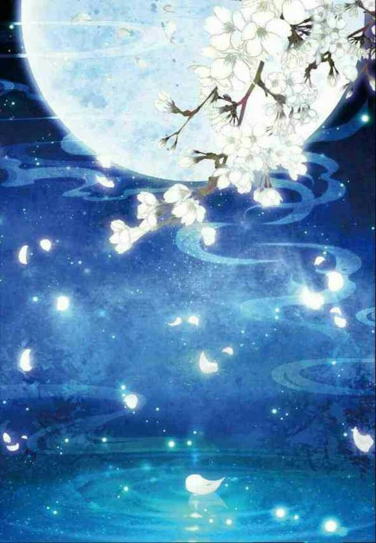 Moonlight Over Water Art Anime Scenery Landscape Drawings