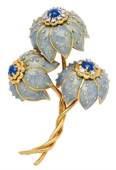 A DIAMOND, SAPPHIRE AND ENAMEL FLORAL BROOCH, TIFFANY CO.: