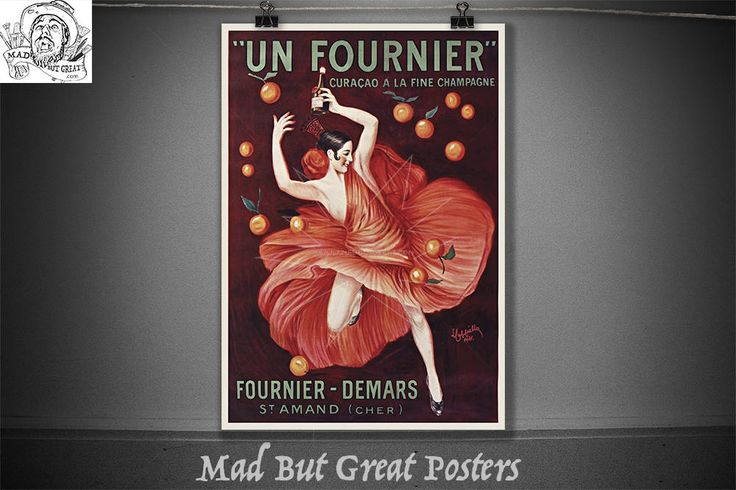 Un Fournier, fine champagne, Leonetto Cappiello, 1921, retro poster, french vintage, drink poster, food and drink, kitchen wall art, print by MadButGreatPosters on Etsy