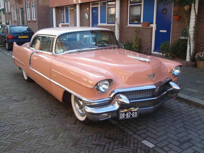 Cadillac Coupe deVille 1956 - color two tone salmon pink white - hardtop  this is either my first or second favorite caddy
