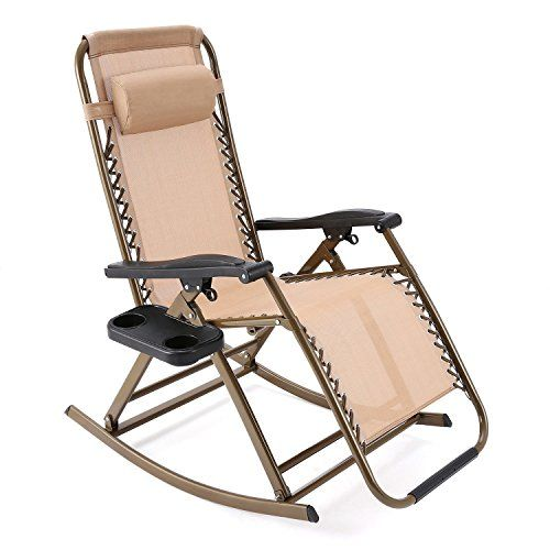 Minilism Folding Rocking Chair Zero Gravity Garden Chairs, Reclining Sun Lounger with Adjustable Pillow for Garden Patio Lawn- Indoor & Outdoor---69.99---