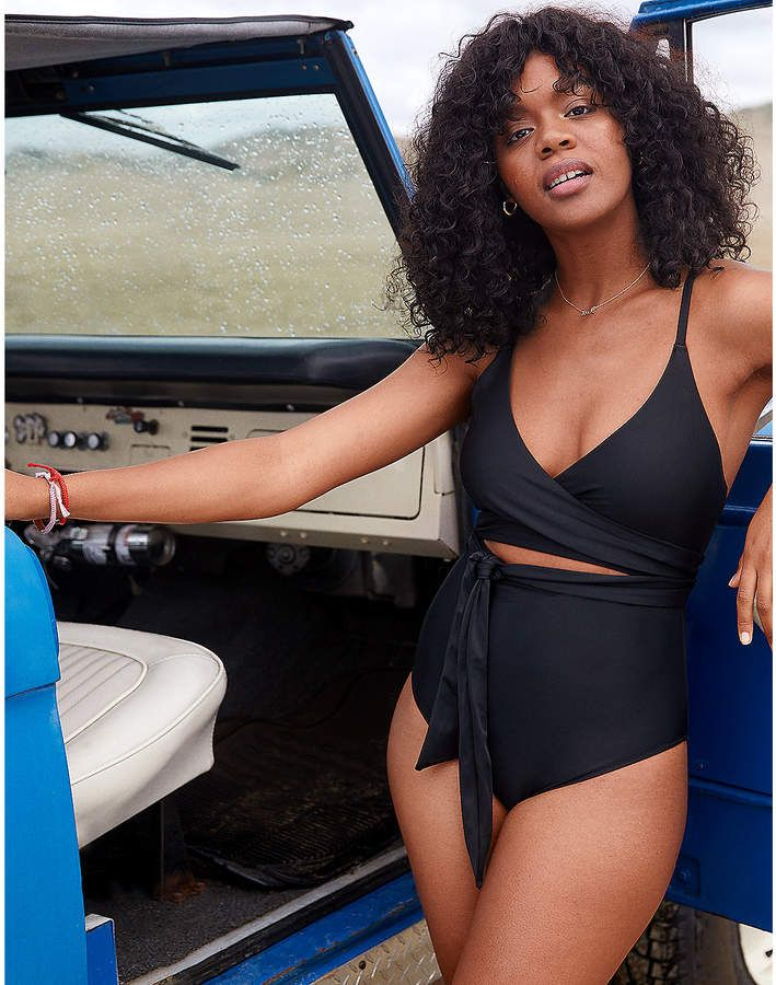 777b39a7219ba aerie Wrap One Piece Swimsuit | Products in 2019 | One piece swimsuit,  Swimsuits, Wrap bathing suit