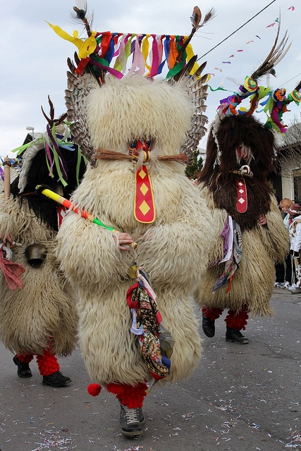 "Kurent,Slovenia. Kurentovanje is one of the most ethnologically significant Slovenian carnival festivals. It is celebrated in Ptuj on Shrove Sunday in the afternoon and visited by more than 100,000 people every year. The main figure, called Kurent or Korent, wears a massive sheepskin garment and a chain with huge bells around its waist, resulting in the noise the function of which is to ""chase away winter"". The ten-day rite of spring and fertility is most likely connected to Slovene…"