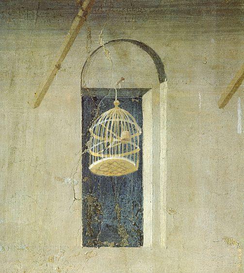 Ambrogio Lorenzetti - Casa urbana, particolare (Gli Effetti del Buono Governo in città) - affresco - 1338-1339 - Siena - Palazzo Pubblico, Sala dei Nove o Sala della Pace