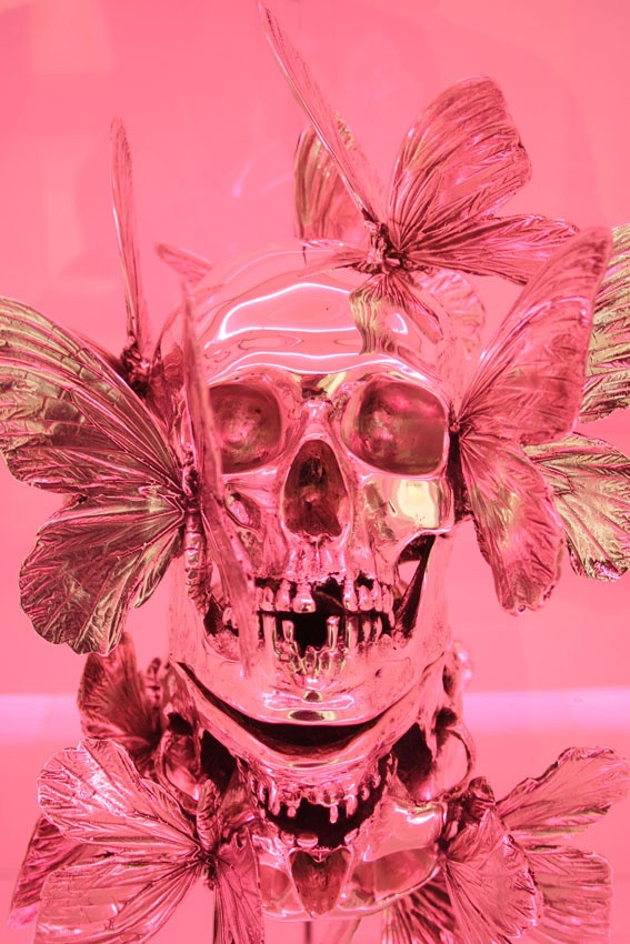 Philippe Pasqua...neon pink skull and butterflies