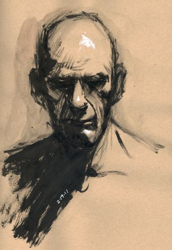 portrait study - ink brush on toned paper - by Rich Lee