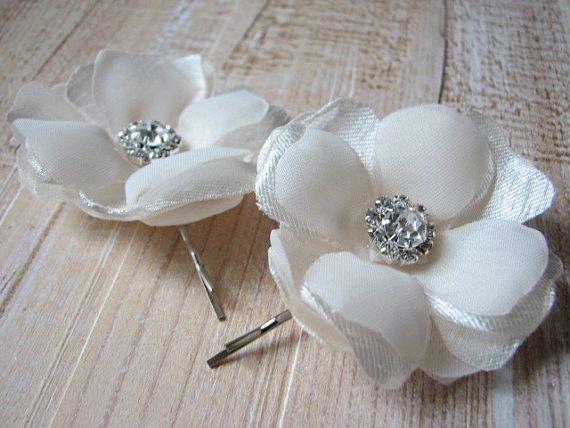 Champagne hair pins 2 Cream hair flower Set by WhiteBridalBoutique