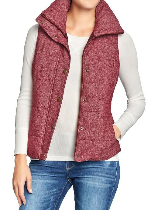 Old Navy | Women's Quilted Tweed Puffa Vests