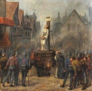 Immagine raffigurante il rogo di Giovanna d'Arco, accusata di stregoneria e condannata nel 1431