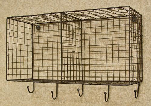 """A style which could fit into either rustic or industrial settings, this wire storage container features two generous baskets measuring roughly 9"""" high by 10"""" wide each. Beneath the baskets, 5 hooks pr"""