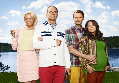 Solsidan: Mickan (Josephine Bornebusch), Fredde (Johan Rheborg), Alex (Felix Herngren) and Anna (Mia Skäringer)