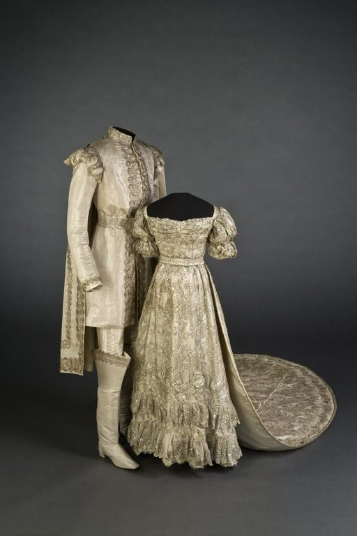 Wedding garments. Worn by King Oscar I and Queen Josefina of Sweden. 1823. I don't know who these people were, but they were royalty, and their wedding outfits are amazing!!! Just like something from a fairytale.