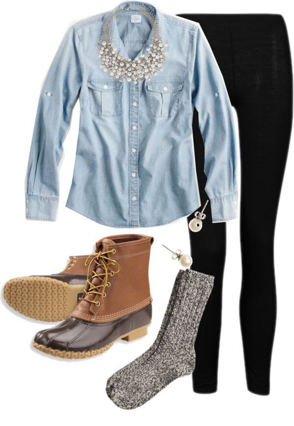 chambray, leggings, bean boots, & pearls