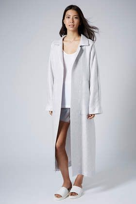 Silver Long Weave Coat by Boutique