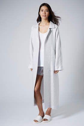 Silver Long Weave Coat by Boutique