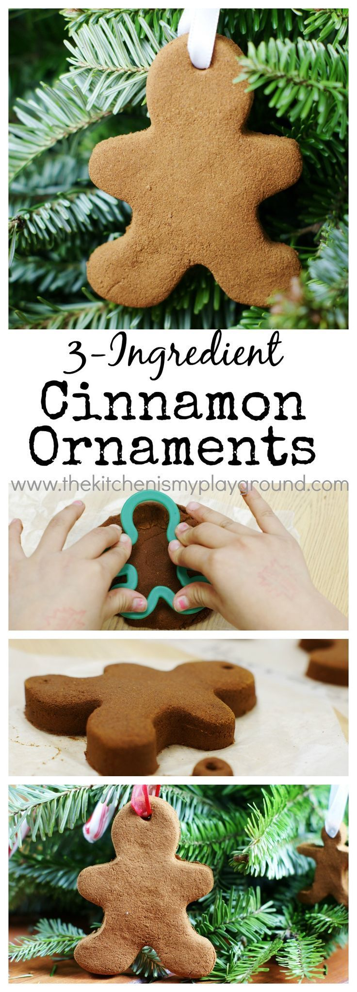 Easy 3-ingredient Cinnamon Ornaments ~ the perfect kid-friendly homemade ornament for gift giving or decorating at home. http://www.thekitchenismyplayground.com
