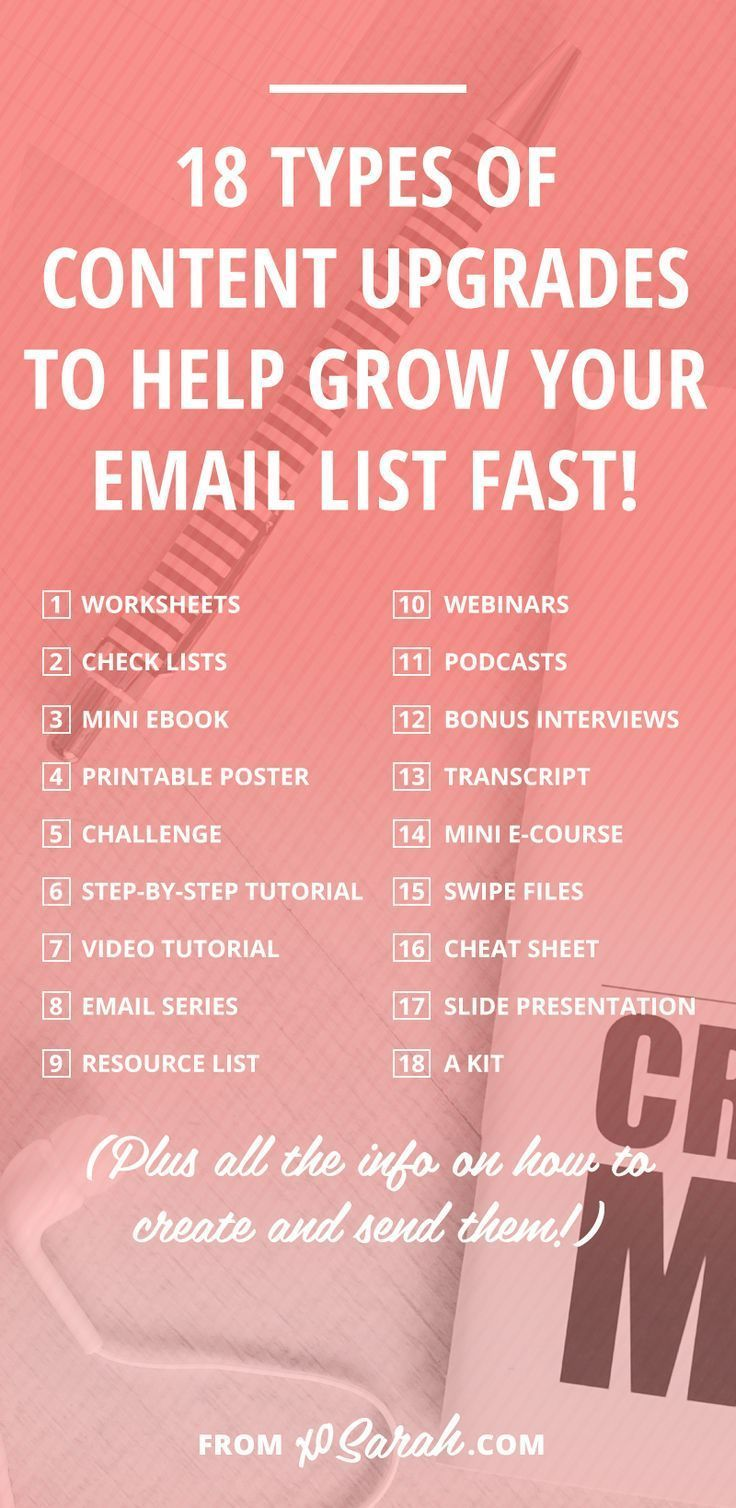 Content upgrades are an awesome way to provide your readers with high value in exchange for their email address! Check out these 18 ideas to get started.