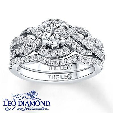 Kay - Leo Diamond Bridal Set 1 1/4 ct tw Round-cut 14K White Gold