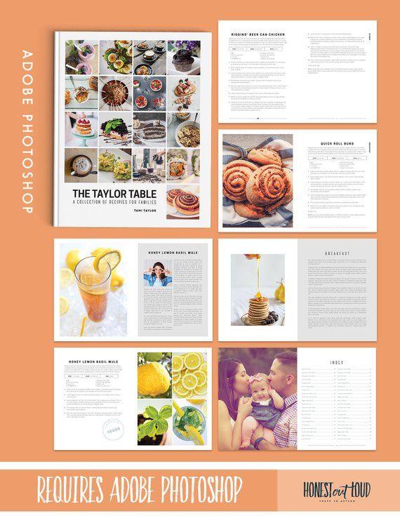 Cookbook Recipe Template Kit Photoshop Instant Printable Etsy Cookbook Template Recipe Template Cookbook Recipes
