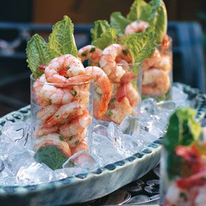 Shrimp Shooters on Ice......Bananas Puddings, Potatoes Salad, Shrimp Shooters, Lunches Menu, Green Beans, Yeast Rolls, Healthy Appetizers, Luncheon Menu, Hot Sauces