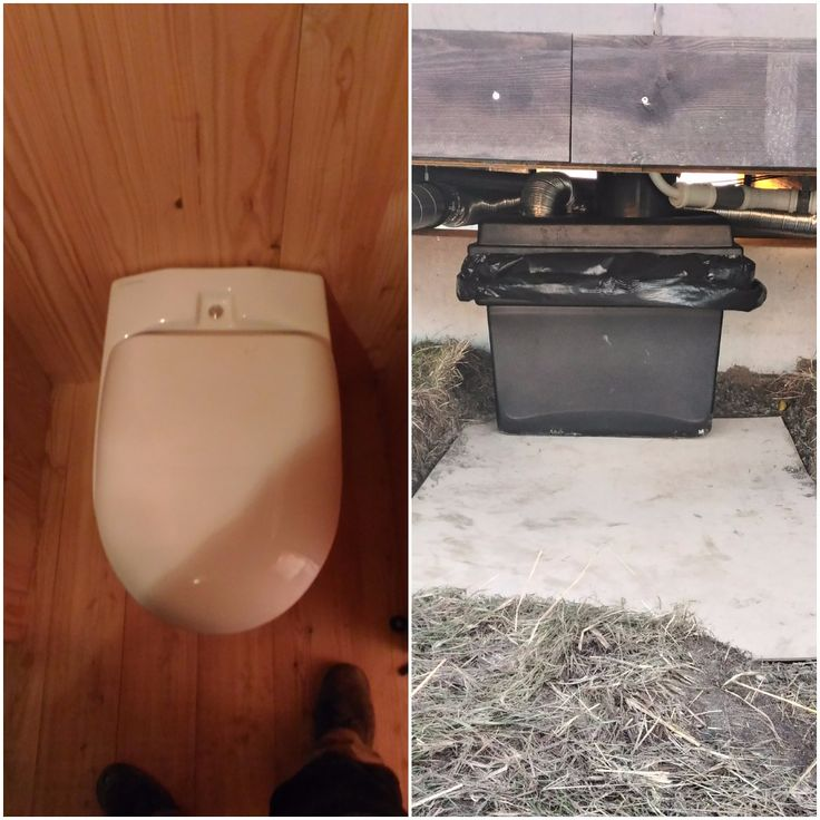 Wostman Eco Dry urine diverting toilet with 100 litre container below for solids