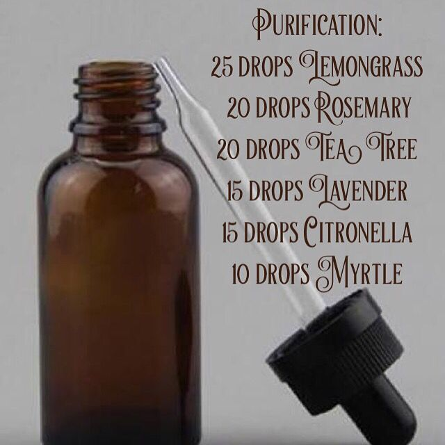 DIY Purification essential oil blend: 25 drops Lemongrass  20 drops Rosemary 20 drops Tea Tree 15 drops Lavender 15 drops Citronella 10 drops Myrtle  DIY Purification Essential Oil blend is a fresh smelling blend consisting of citronella, lemongrass, tea tree, lavender, rosemary and myrtle. It has so many uses around the home and for your health and wellbeing.