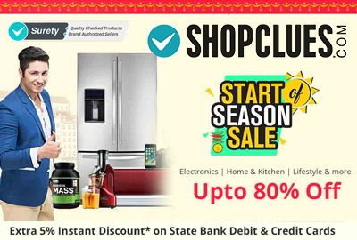 Shopclues is offering Upto 80% off on Start Season Sale Electronic, Home & Kitchen, Lifestyles & more. Extra 5% off Instant Discount on SBI Bank Credit & Debit Cards. TVs, ACs, Mobiles & more.  http://www.paisebachaoindia.com/start-of-season-sale-electronic-home-kitchen-upto-80-off-shopclues/