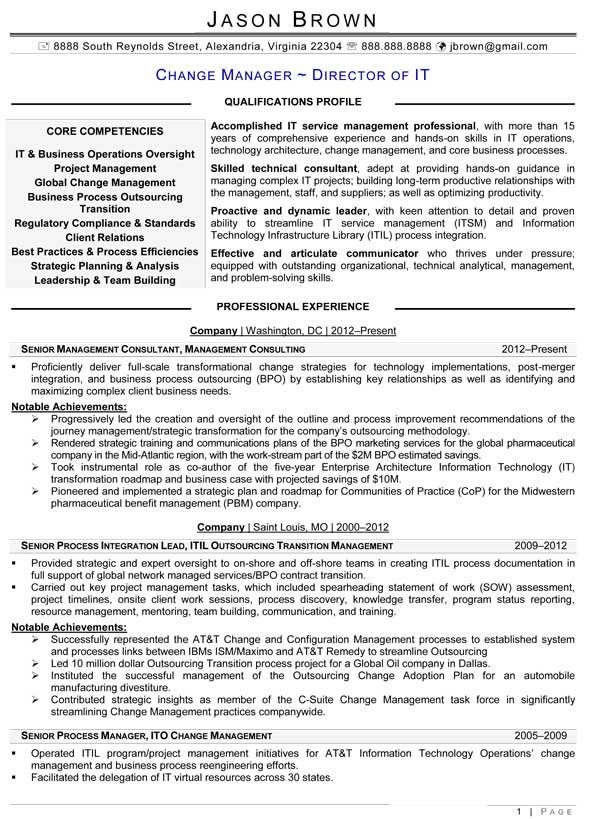 Resume Examples It Manager Pinterest Resume examples and Sample