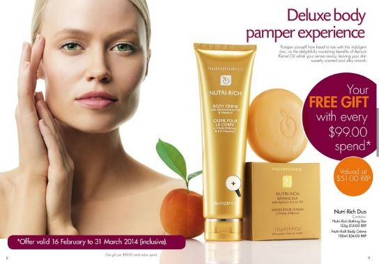FREE Nutrimetics Nutri-Rich gift with every $99 spend during March 2014.  Place your order NOW: https://www.nutrimetics.com.au/cyndi/eBrochure.aspx