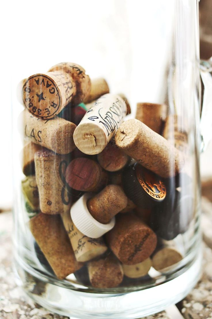 Savor cherished memories by writing the date and event on corks. Keep them on display in a tall glass vase on a bookshelf for a cute keepsake.