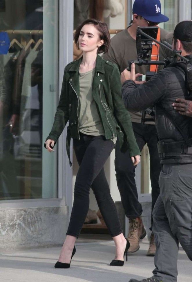 Lily Collins on the set of a 'Lancome' ad in LA Pinterest: KarinaCamerino