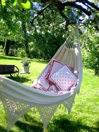 Nothing creates the scene for relaxing in the garden more than a hammock!  See @Cindy Adkins blog for more inspiration!  #hammock