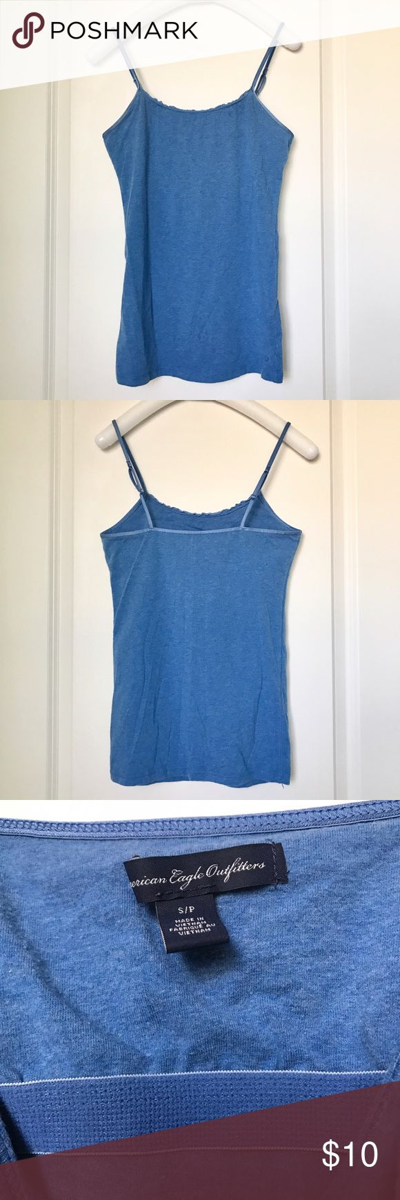 Heather Blue Camisole with Built-In Shelf Bra Burnt Orange Camisole with Built-In Shelf Bra. Cotton/spandex blend. Bundle 2 or more items for 20% off and combined shipping! Sorry, no trades. American Eagle Outfitters Tops Camisoles