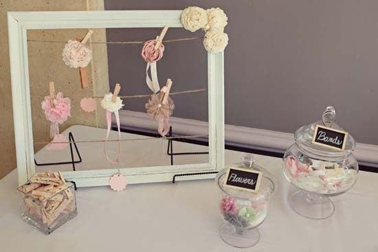 DIY Baby Headband Station for a baby shower! We love this idea