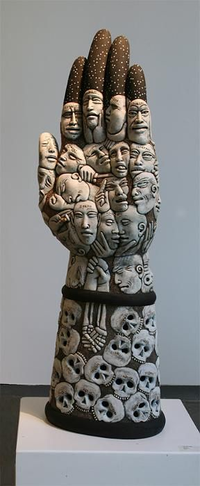 Epehmera: Ceramic sculpture by Mark Messenger whose work is an expression of his personal mythology. His work encompasses a blend of drawing, painting, modeling, & pottery techniques. It is through these mediums that he explores social, political, & psychological issues.in the form of narratives. His clay characters interact with objects whose origins are found in history, mythology, religion, contemporary life, media, & art.