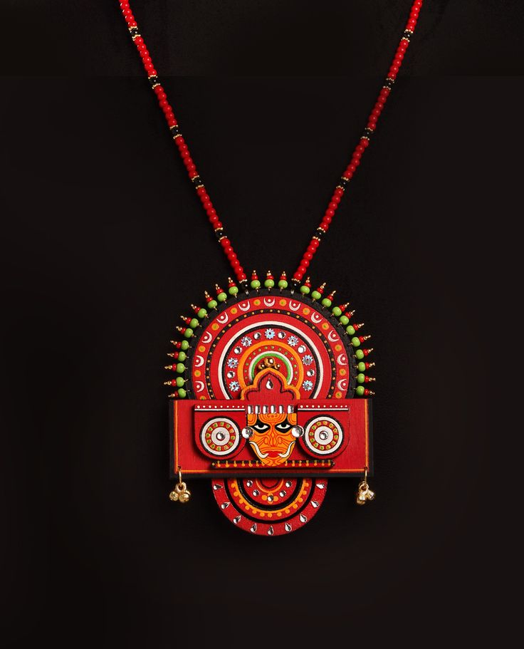 The #Theyyam collection #draws #inspiration from the ritualistic #art form of North #Kerala. #Colorful #masks and imaginative #costumes of this #dance forms the background of this eclectic #collection. A riot of #colours, #patterns and folk #art, you'll discover that God is indeed to be found in the details. Each piece of jewellery is one-of-a-kind and the attempt has been to capture the intensity and energy of the dance form.