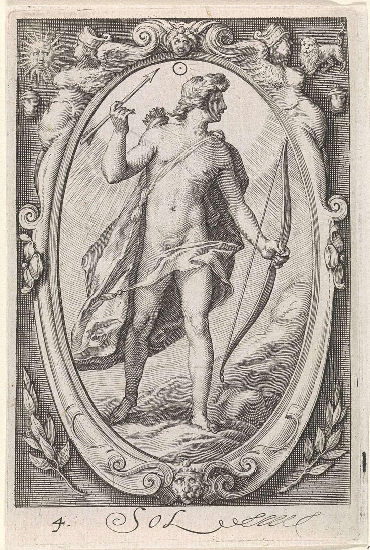 Jacob Matham | Zon (Apollo), Jacob Matham, Hendrick Goltzius, 1597 | Apollo, of de gepersonifieerde zon, met pijl en boog. Boven zijn hoofd het astronomische symbool voor zijn planeet. Staand in een ovaal cartouche met bovenaan de twee tekenen: Zon en Leeuw.