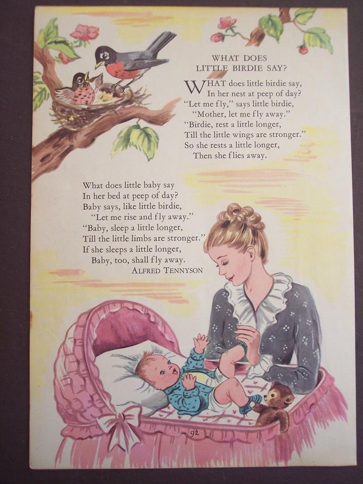 LOVE! Vintage Nursery Rhyme Print 1948 Children's poem ...