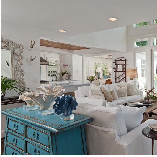 Turquoise Dresser Used In The Living Room Great Idea