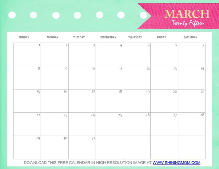 Free Printable March 2015 Calendar: Cute and Pretty!: Projects, To Try ...