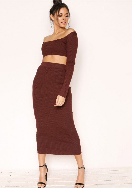 dd3515543fbf Get that knitted fav! Our Cami Chocolate Knit Ribbed Co-ord Set features  knit material, ribbed style, square neck crop top with long sleeves and  matching ...