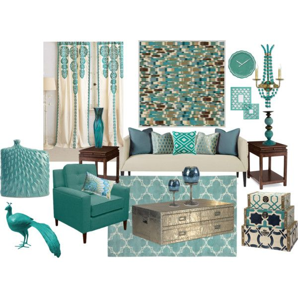 Aqua Blue Living Room By Truthjc On Polyvore Aqua Decor Pinterest Blue Living Room